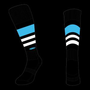 Wildcard Socks - Black, Sky Blue & White
