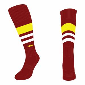 Wildcard Socks - Maroon, Yellow & White
