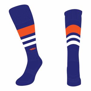 Wildcard Socks - Navy Blue, Orange & White