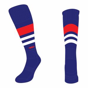 Wildcard Socks - Navy Blue, Red & White