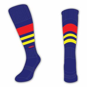 Wildcard Socks - Navy Blue, Red & Yellow