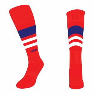 Wildcard Socks - Red, Navy Blue & White