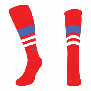 Wildcard Socks - Red, Royal Blue & White