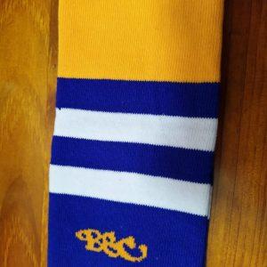 Wildcard Sock - Royal Blue, Light Orange & White
